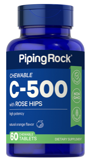 Chewable Vitamin C 500 mg with Rose Hips, 60 Chewable Tablets